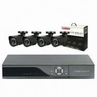 China Integrated CCTV System for Home Use, 1 x All D1 4-channel DVR and 4 x 550TVL Weatherproof Cameras wholesale