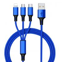 China Hot Sale Charging USB Cable 3 In 1 multi-use for Iphone & Micro Usb & Type c Nylon Braided wholesale
