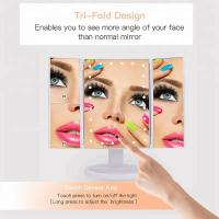 China Lighted Makeup Mirror, Touch Screen LED Table Makeup Mirror -Three Panel Led Light Tabletop Cosmetic Mirror wholesale