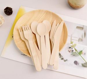 China Wood Disposable Paper Packaging Accessories 14cm 16.5cm Kinife Fork Spoon Cutlery Sets wholesale