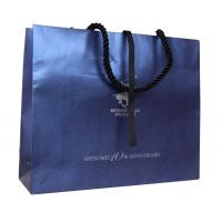 China Navy Recycle Paper Cotton Twist Handle Ribbon Cloure Logo Stamped Paper Carrier Bags on sale