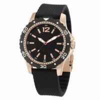 China Sports Watch with Rubber Strap and Alloy Case, Plastic Bezel on Case, 3ATM Waterproof wholesale