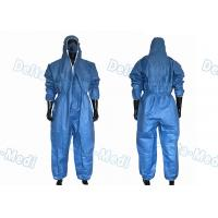 China Dark Blue SF Microporous Disposable Protective Coveralls Hooded With Elastic Cuff wholesale