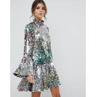 China factory manufacturer custom make rainbow mini sequin dress wholesale