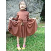China Young Girls Turtleneck Dress , Fur Stoppers Waist Kids Autumn Dress Clothes wholesale
