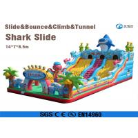 China playground equipment land slide inflatable shark slide for kids wholesale