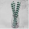China 12mm Large caliber pearl milk tea Green Horizontal stripes color Biodegradable Paper Drinking Straws wholesale