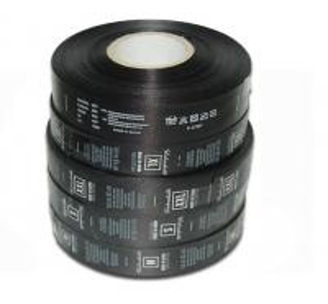 China Polyester Custom Care Labels Symbols Black Single Side Roll Satin Printed on sale