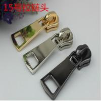 China Factory price customized size zinc alloy light gold No.15 metal zipper slider with puller wholesale
