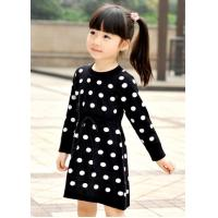 China Polka Dots Jacquard Knit Little Girls Winter Dresses Full Sleeve 4 Year Old Girl Clothes wholesale