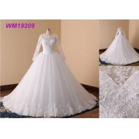 China Beaded Simple Long Sleeve Wedding Dresses , Long Boat Neck Lace Wedding Dress wholesale