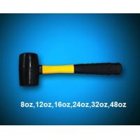 black rubber mallet with yellow fiberglass handle