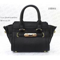China Small Ledis Hand Bag , Female Black Color PU Tote Bag With 23*12*18cm Size wholesale