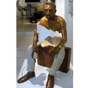 Buy cheap Interior Landscape Design Life Size Bronze Sitting Man Sculpture from wholesalers