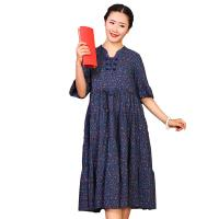 China Custom Long Cotton Summer Dresses O Neck With Knee - Length Dresses Length wholesale