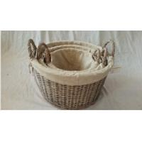 China Round willow wicker storage hamper with liner wholesale