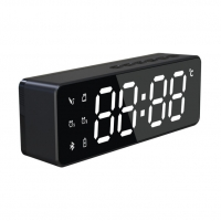 China Wireless Speaker Bluetooth LED Mirror Alarm Clock on sale