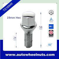 China O8A Chrome Plated Wheel M12x1.5 Lug Bolts For BENZ With Cone Seat 19mm Hex wholesale
