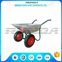 China Durable Heavy Duty Wheelbarrow , Two Wheel Steel Wheelbarrow Wide Stance Legs wholesale