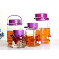 Quality Large Food Glass Storage Jars Wide Mouth Neck With Purple Lid Faucet 4L 30L for sale