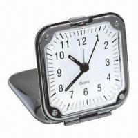 China Traveling Alarm Clock with Metal Case, Comes in Slim and Elegant, Logos Printing Accepted  on sale