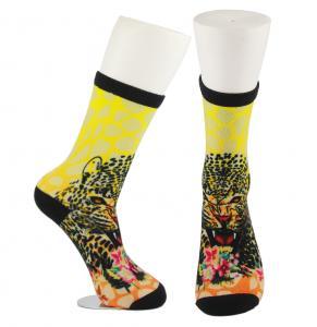 Yellow Anti Slip Custom Printed Socks , Eco - Friendly Soft Cute Printed Socks