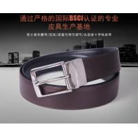 China Reversible Prong Buckle Real Leather Waist Belt In Dark Brown And Black Color wholesale