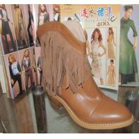 China 2014 western wear genuine leather tassels ankle boots, cowboy style Wooden Heel short boot wholesale