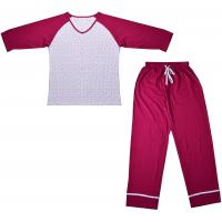 China Embroidered Womens Cotton Knit Pajamas / Ladies Loungewear Sets Any Color Available wholesale