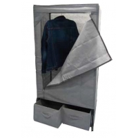 China Grey 10KG Non Woven Fabric Wardrobe With 2 Drawers wholesale