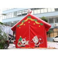 China Red 0.45mm Plato PVC Tarpaulin Inflatable Christmas Santa House For Decoration on sale