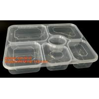 China Disposable biodegradable plastic fiffin lunch box,compartment lunch box with lid,clamshell food packaging macaron pp bli wholesale