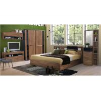 China Fashion Melamine 5 Piece Bedroom Furniture Sets With Sliding Wardrobe And TV Stand wholesale