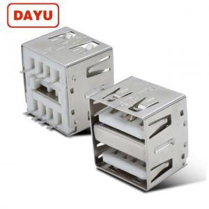 China 14mm 180 Degree DIP USB A Dual USB Female Connector Type A Plug Socket wholesale