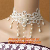 China Wedding Classic Women White Lace beading Pearl Choker Necklace jewelry Accessories Collar on sale