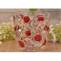 China Home Decorative Glass Candle Holders  , Glass Candlestick Holders Hobnail Dots Emboss wholesale