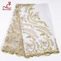 China Factory  Heavy Tulle Beaded Embroidery Lace Fabric For Bridal Dress wholesale