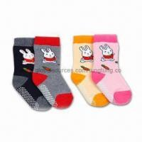 China 100% Cotton Rabbit and Carrot Kids Socks with terry, Available in Various Sizes wholesale