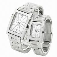 China Quartz Double Watches Gift Set with Alloy Case and Stainless Steel Strap, Miyota 2035 Movement wholesale