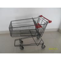 China 135L Metal Wire UK Shopping Cart With 4x5inch swivel flat TPE black casters wholesale
