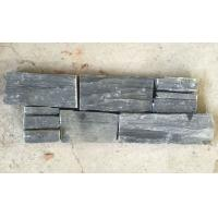 China Charcoal Slate Z Stone Cladding with Steel Wire Back,Carbon Black Slate Stacked Stone Panel wholesale