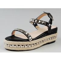 China Customized women leather shoes woven hemp rope flatform sandals with rivet shoes exporter wholesale
