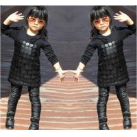 China Knit Black Winter Party Dresses For Girls , 7 To 8 Years Girl Dress Pu Leather Front wholesale