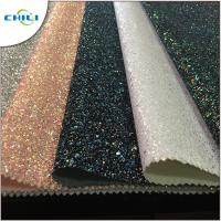 Quality Flat Glitter Polyester Fabric Squares , Glitter Clothing Fabric Canvas Backing for sale