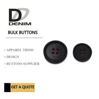 Quality Large Textured Matt Black Trench Coat Buttons Pattern Design With 4 Holes for sale