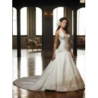 China 2011New Glamorous halter Customer-Made Design embroider Wedding dress at a low price wholesale