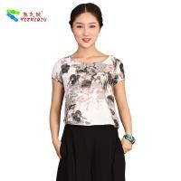 China OEM Traditional Chinese Womens Casual Blouses Short Sleeve XS-XXXL wholesale