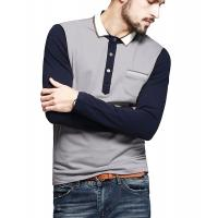 China Color Block Ribbed Mens Polo T Shirts With Sleeves Placket Unfunctional Pocket wholesale