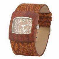 China Wooden Wristwatch for Women, with Wooden Case, Leather Strap and Japan Movement wholesale