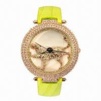 China Diamond Jewelry Watch with Copper Case and Leather Strap, 3ATM Waterproof, Hot Sale on 2013 wholesale